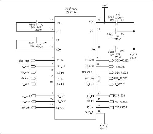Пример преобразователя уровней CMOS - RS-232 на микросхеме ICL3207CA