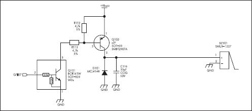 Схема подключения внешнего зуммера