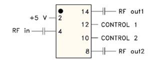 Схема включения переключателя RSW-2-25P(+) с использованием внешних блокировочных конденсаторов