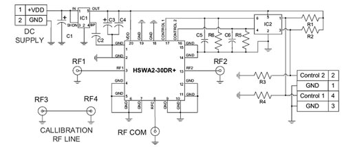 Схема оценочной платы для переключателя HSWA2-30DR(+)