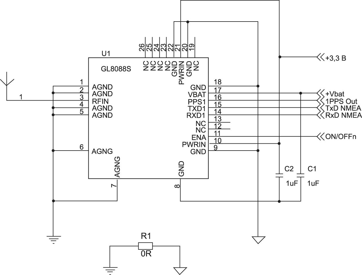 Типовая схема включения приемника GL8088s