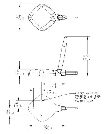 Габаритные и присоединительные размеры антенны WS3942