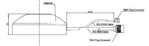 Габаритные и присоединительные размеры антенны GLP1-GC в исполнении с магнитным основанием
