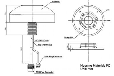 Габаритные и присоединительные размеры антенны GLP1-GC в исполнении для монтажа в отверстие
