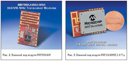 Рис. 2. Внешний вид модуля MRF89XAM. Рис. 3. Внешний вид модуля MRF24J40MB 2,4 ГГц