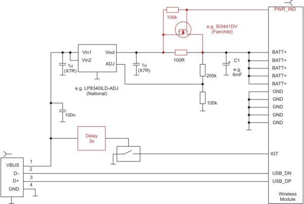 Схема питания модуля EHS5 от USB