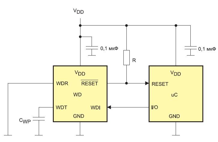 Пример схемы подключения внешнего сторожевого таймера