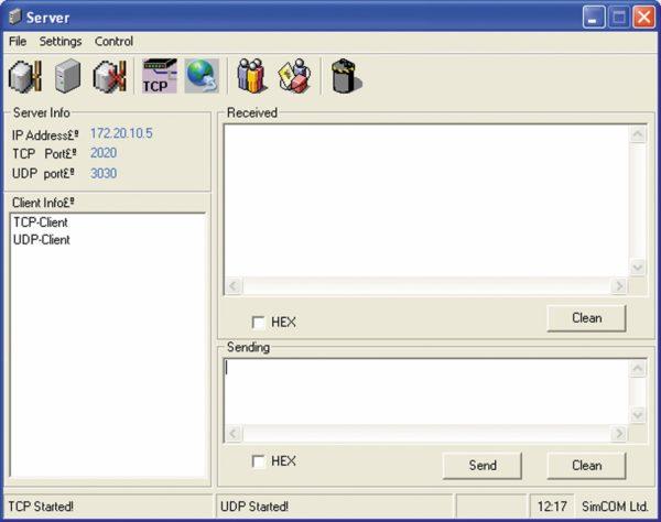 Окно программы Server