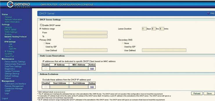Окно работы в режиме DHCP-сервера