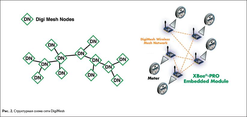 Структурная схема сети DigiMesh