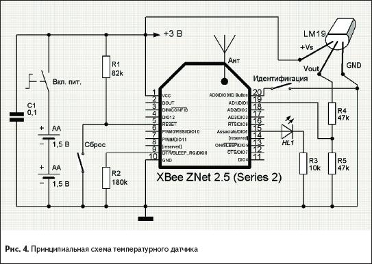 Принципиальная схема температурного датчика
