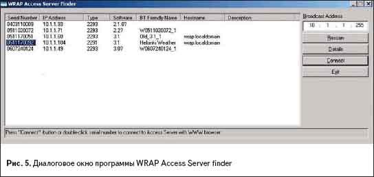 Диалоговое окно программы WRAP Access Server finder