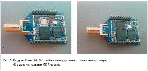 Модули XBee-PRO S2B: а) без интегрированного микроконтроллера;б) с дополнительным МК Freescale
