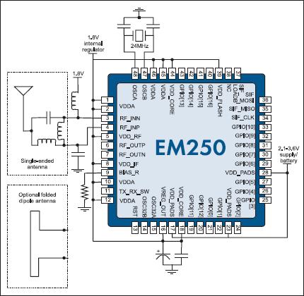 Схема включения кристалла EM250