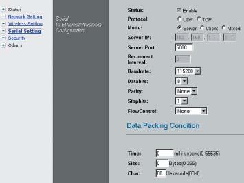 Настройка работы WIZ610wi в режиме сервера