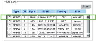Окно со списком точек доступа при заводских настройках WIZ610wi