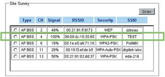 Окно со списком точек доступа с новыми настройками WIZ610wi