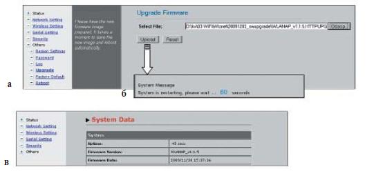 Этапы обновления программного обеспечения для модуля WIZ610wi