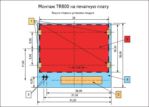 Габаритные размеры модуля TR-800 от компании iWOW