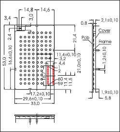Установочные размеры GSM/GPRS-модуля Sim 100