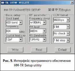 Интерфейс программного обеспечения HM-TR Setup utility