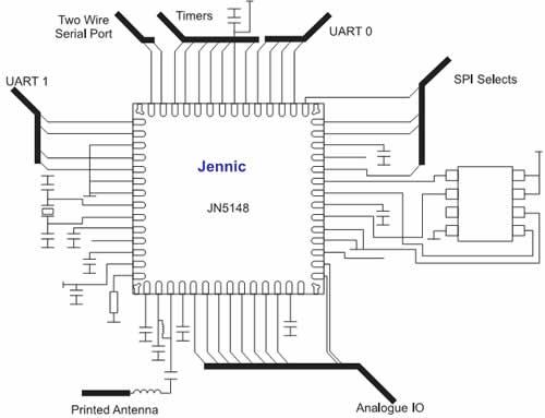 Электрическая схема включения микроконтроллера JN5148