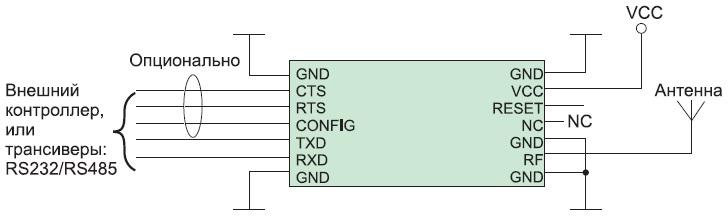 Схема подключения радиомодуля RC11xx