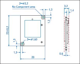 Габаритные и присоединительные размеры модуля XG-880M