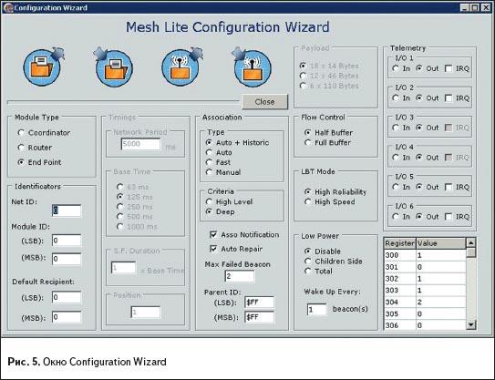 Окно Configuration wizard