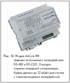 Рис. 12. Модем AnCom RM (вариант исполнения с интерфейсами RS-485 и RS-232C; 8 входов охранно-пожарной сигнализации; буфер данных до 32 кбайт для систем с «трехпроводным» интерфейсом)