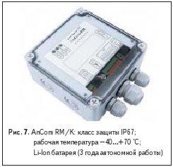 AnCom RM/K: класс защиты IP67;рабочая температура –40…+70 °С; Li-Ion батарея (3 года автономной работы)
