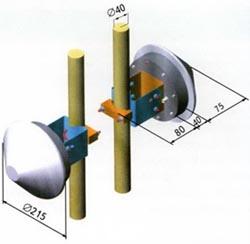 Установочные размеры антенны в сочетании с выделенным объемом для расположения приемно-передающей электроники