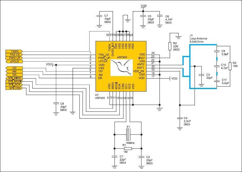 Типовая схема включения приемопередатчика серии nRF905