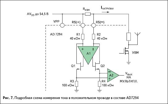 Подробная схема измерения тока в положительном проводе в составе AD7294