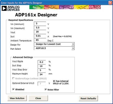 Инструмент проектирования для повышающего импульсного преобразователя ADP1613 на базе Excel