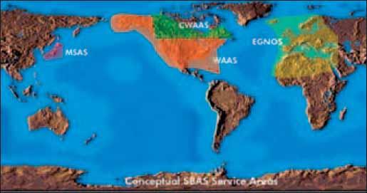 Рабочие зоны космических функциональных дополнений SBAS