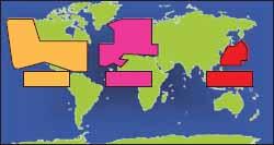 Зоны покрытия систем WAAS, EGNOS, MSAS
