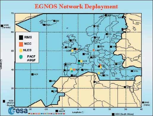 Размещение элементов функциональной структуры системы EGNOS в Европе