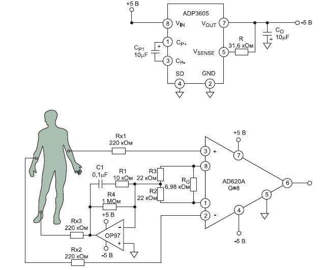Схема усилителя электрокардиосигнала после доработки