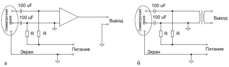 Разновидности симметричных линий для связи с микрофоном