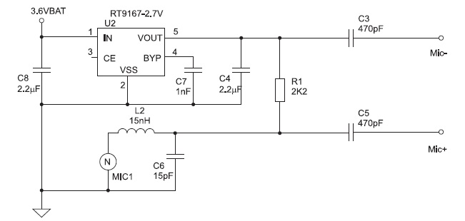 Несимметричная схема подключения конденсаторного микрофона