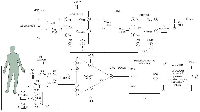 Исходная схема усилителя электрокардиосигнала