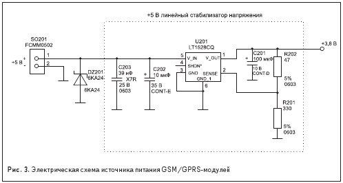 Электрическая схема источника питания GSM/GPRS-модулей