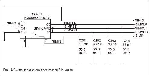 Схема подключения держателя SIM-карты