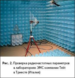Проверка радиочастотных параметров в лабораториях ЭМС компании Telit в Триесте (Италия)