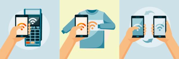 Рис. 2. Три режима работы NFC устройств: эмуляция, считывание, обмен