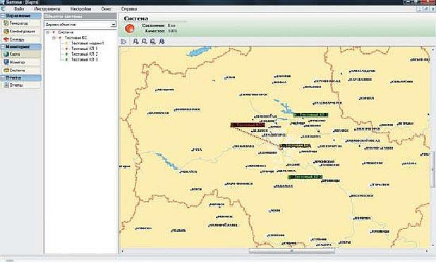 Окно модуля карты с объектами технологической радиосети обмена данными о состоянии объектов системы (информационные панели) ПТК «Балтика»