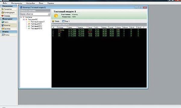 Окно модуля мониторинга состояния бъектов системы (консоль) ПТК «Балтика»