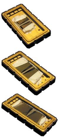 Макрофотографии квазивеерных фильтров на ОФНП в металлокерамическом SMD-корпусе 13,3×6,5 мм (внутреннее устройство)